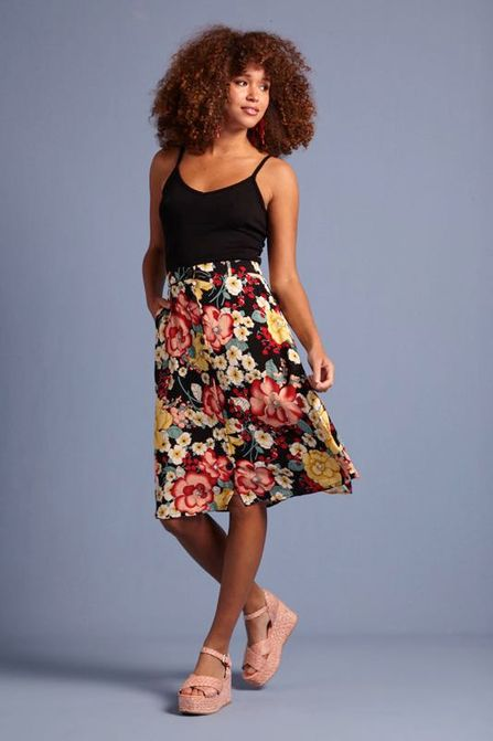 King Louie Serena Button Skirt Carioca